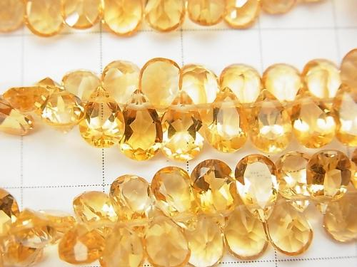 High Quality Citrine AAA Pear shape  Faceted 8x5x3mm 1/4 or strand (aprx.6inch/16cm)
