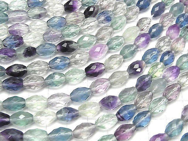 [Video] High Quality! Multicolor Fluorite AAA- Faceted Rice 10x7x7mm half or 1strand (aprx.15inch / 38cm)