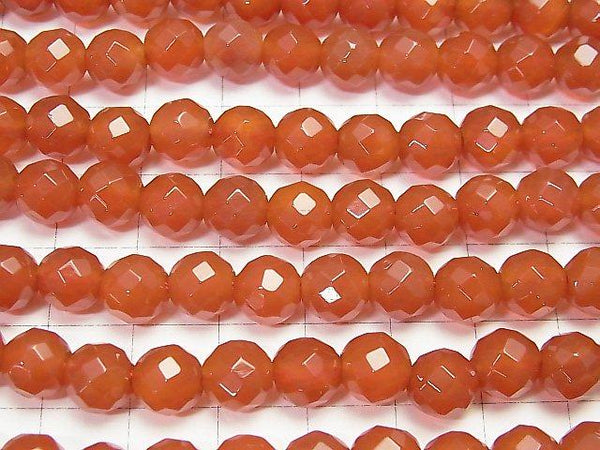 1strand $7.79! Carnelian AAA 64 Faceted Round 8 mm [2 mm hole] 1 strand (aprx.15 inch / 36 cm)