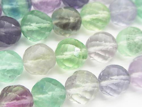 Multicolor Fluorite AA + Twist 72 Faceted Round 12 mm half or 1 strand (aprx.15 inch / 38 cm)