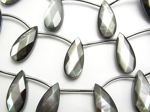 High Quality Black Shell (Black-lip Oyster) AAA Faceted Pear Shape 18 x 8 x 5 mm half or 1 strand (aprx. 15 inch / 38 cm)
