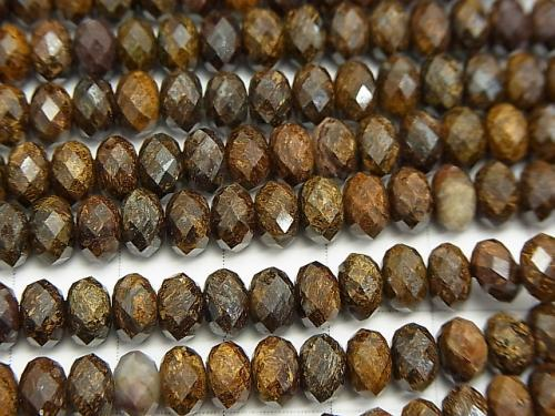 Diamond Cut!  Bronzite  Faceted Button Roundel 6x6x4mm half or 1strand (aprx.15inch/37cm)