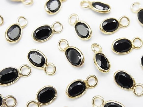 High Quality Black Spinel AAA - Bezel Set Oval Faceted 6 x 4 mm [One Side] 18 KGP 10 pcs $8.79!
