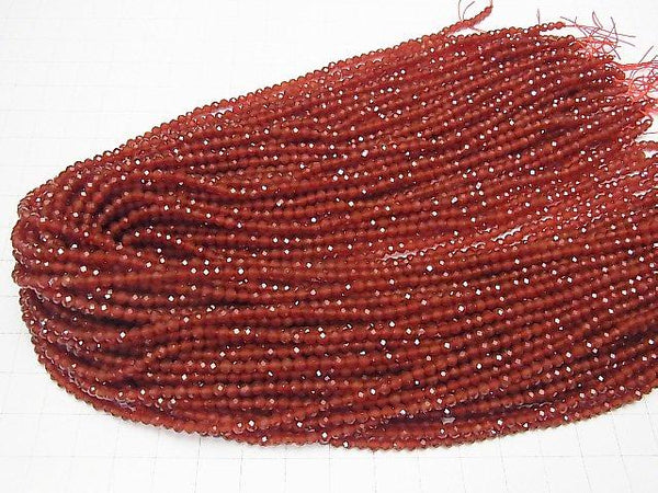 Diamond Cut! 1strand $5.79! Red Agate AAA Small Size Faceted Round 3mm 1strand (aprx.15inch / 37cm)