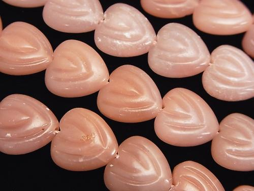 Pink Soap Stone Vertical Hole Heart 14 x 14 x 6 mm half or 1 strand (aprx.15 inch / 38 cm)