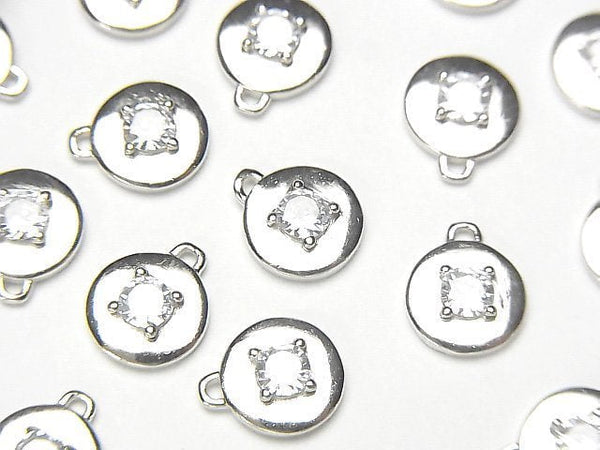2 pcs $5.79! Silver 925 Coin 9 x 8 x 2.5 mm charm (with CZ) [Rhodium Plated] 2 pcs
