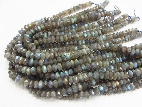 Diamond Cut!  Labradorite AA++ Faceted Button Roundel 10x10x6mm half or 1strand (aprx.15inch/38cm)