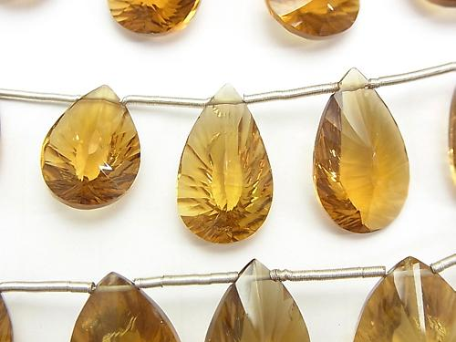 High Quality Beer Crystal Quartz AAA- Pear shape  Concave Cut  1strand (aprx.5inch/13cm)