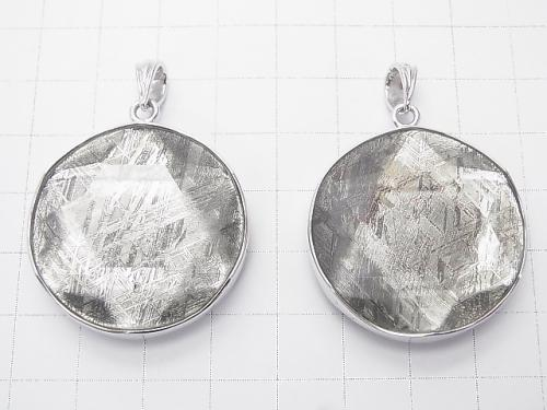Meteorite (Muonionalusta ) Pendant  Both Side Finish 32mm Silver925