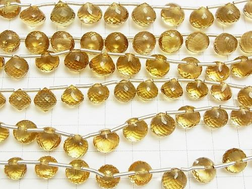 MicroCut!  High Quality Beer Crystal Quartz AAA Onion  Faceted Briolette  3pcs or 1strand (aprx.8inch/20cm)