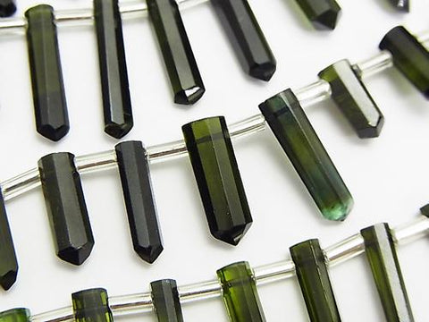 High Quality Green Tourmaline AAA Natural Point Cut [M - L size] Color gradation half or 1strand (aprx.7inch / 18 cm)