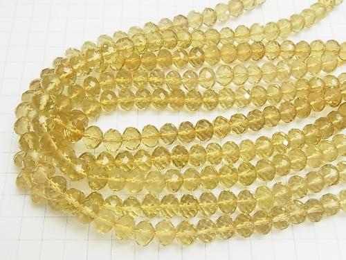 High quality Lemon Quartz AAA Faceted Button Roundel 10 x 10 x 8 mm 1/4 or 1strand (aprx.15 inch / 38 cm)