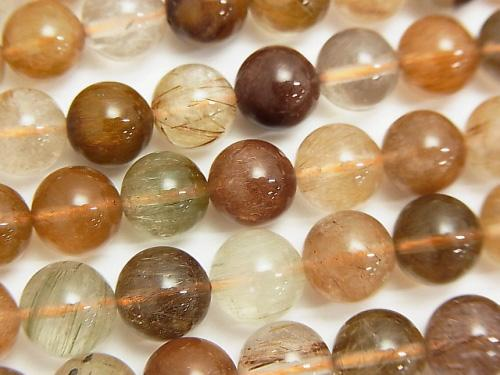 [Video] Multi Color Rutilated Quartz AAA Round 8mm half or 1strand (aprx.15inch / 36cm)
