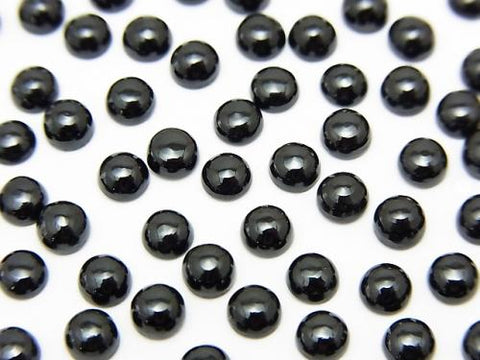 High Quality Black Spinel AAA Round Cabochon 4 x 4 mm 10 pcs $4.79