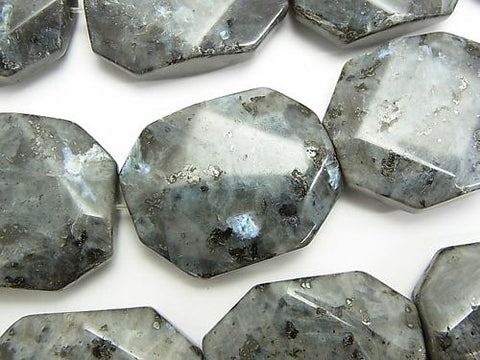 Larvikite  Faceted Rectangle 30x24mm half or 1strand (aprx.15inch/36cm)