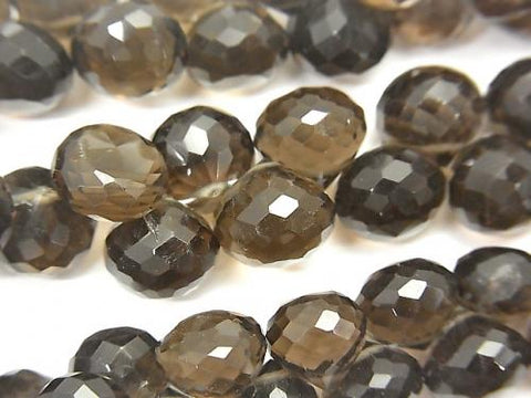 High Quality Smoky Crystal Quartz AAA Onion Faceted Briolette [Medium color] 1/4 or strand (aprx.7inch / 18cm)