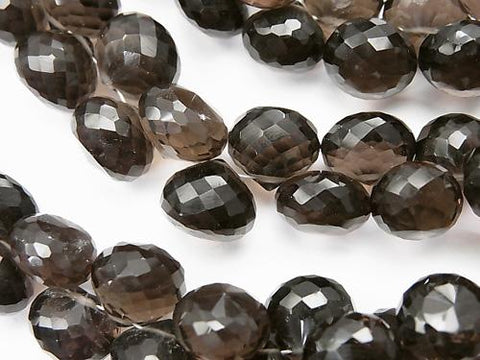 High Quality Smoky Crystal Quartz AAA Onion Faceted Briolette [Dark Color] 1/4 or 1strand (aprx.6inch / 15 cm)