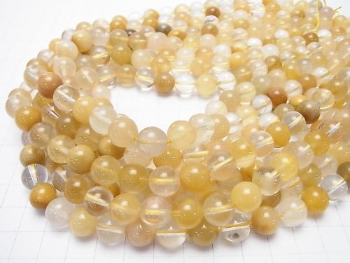 Mixed yellow quartz AAA Round 10 mm half or 1 strand (aprx.15 inch / 38 cm)
