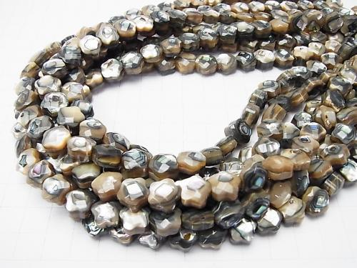 Abalone Shell  Faceted Star (Both Side Finish )10x10x7mm half or 1strand (aprx.15inch/38cm)