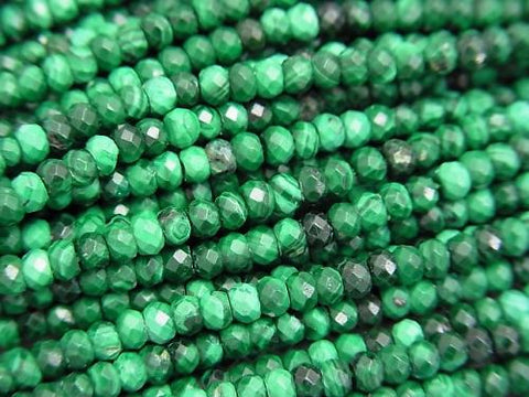 Diamond Cut!  1strand $11.79! Malachite AAA- Faceted Button Roundel 3x3x2mm 1strand (aprx.15inch/38cm)