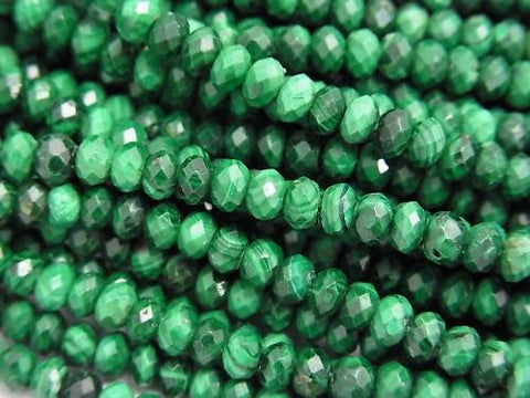 Diamond Cut!  1strand $13.99! Malachite AAA- Faceted Button Roundel 4x4x2mm 1strand (aprx.15inch/38cm)
