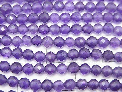 [Video] High Quality! Amethyst AAA 32Faceted Round 4mm 1strand (aprx.15inch / 37cm)