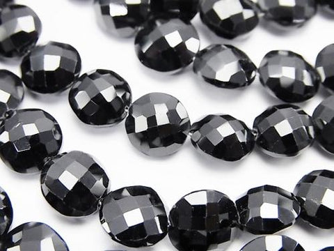 High Quality Black Spinel AAA - Faceted Coin half or 1strand (aprx.8 inch / 20 cm)