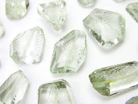 High Quality Green Amethyst AAA Faceted Nugget 6pcs $29.99