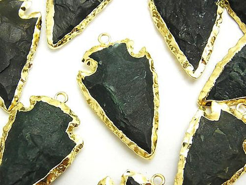 1pc $6.79! Green Jasper Rough Rock Arrows Head Shaped Charm Gold Color 1pc