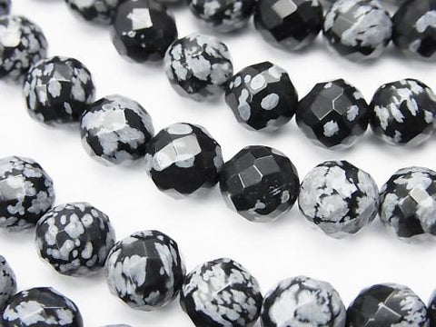 1strand $9.79! Snowflake Obsidian 64Faceted Round 8mm 1strand (aprx.15inch / 38cm)