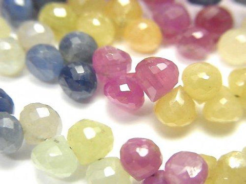High Quality Multicolor Sapphire AA ++ Onion Faceted Briolette half or 1strand (aprx.7inch / 18 cm)
