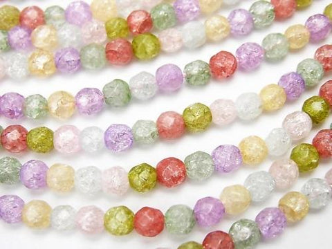 1strand $7.79! Multicolor Cracked Crystal 32 Faceted Round 4 mm NO.2 1 strand (aprx.15 inch / 36 cm)