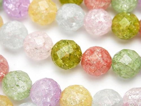 Multicolor Cracked Crystal 64 Faceted Round 10 mm NO. 2 half or 1 strand (aprx. 15 inch / 36 cm)