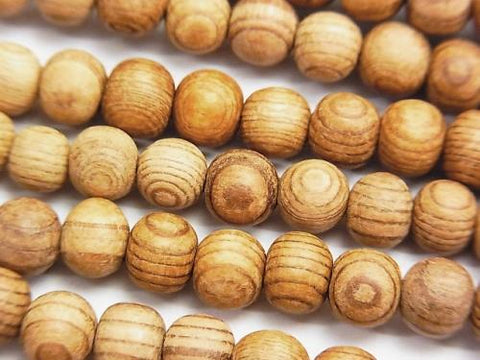 [World Heritage, Yakushima ]  1strand $19.99! YAKUSUGI Cedar Wood AAA - Round 6 mm (without wax) 1strand (aprx.15inch / 38cm)
