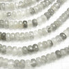 Gray quartz Faceted Button Roundel 8 x 8 x 5 mm half or 1 strand (aprx.15 inch / 38 cm)
