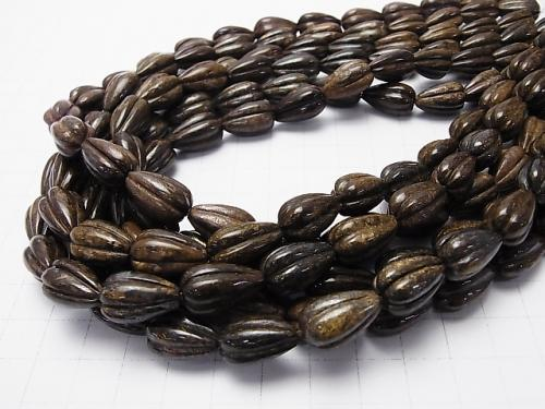 Bronzite  Line Carved Vertical Hole Drop 16x10x10mm half or 1strand (aprx.15inch/38cm)