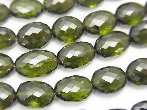 MicroCut! High Quality Green Tourmaline AAA Faceted Oval half or 1strand (aprx.4inch / 9cm)