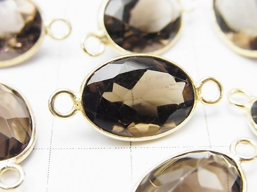 High Quality Smoky Crystal Quartz AAA Bezel Setting Oval Faceted 15x11mm [Both Side ] 18KGP 3pcs $11.79!