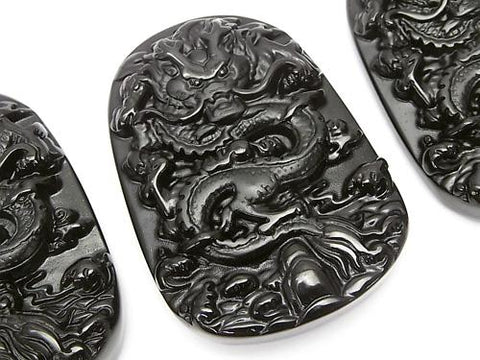 Dragon Carving! Black Obsidian AAA Plate 1pc