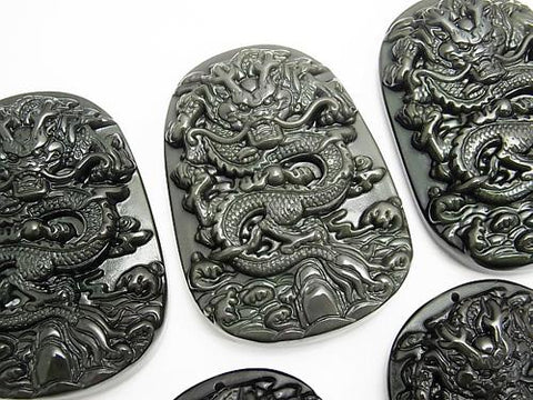 Dragon Carving! Obsidian AAA Plate 1pc