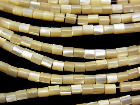 1strand $2.79! Mother of Pearl MOP Tube 3 x 3 x 3 mm beige 1 strand (aprx.15 inch / 38 cm)