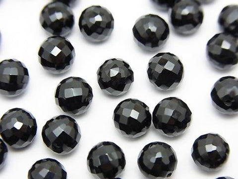 Black Spinel AAA Half Drilled Hole Faceted Round 6 mm 5 pcs $7.79!