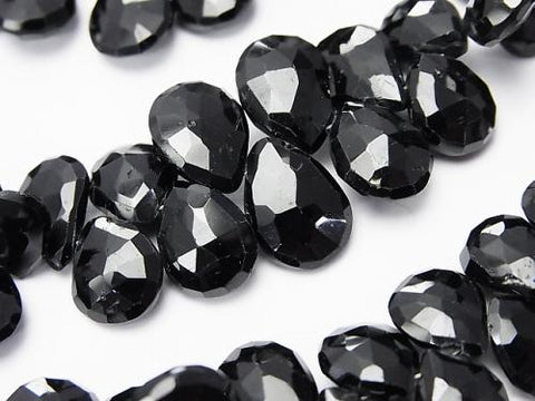 High Quality Black Spinel AAA - Pear shape Faceted Briolette half or 1strand (aprx.7 inch / 18 cm)