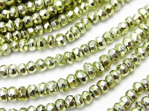 1strand $12.99! Pyrite AAA Metallic Green Color Coating Faceted Button Roundel 1strand (aprx.13inch / 32cm)