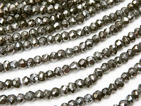 1strand $12.99! Pyrite AAA Dark Gray Coating Faceted Button Roundel 1strand (aprx.13inch / 32cm)
