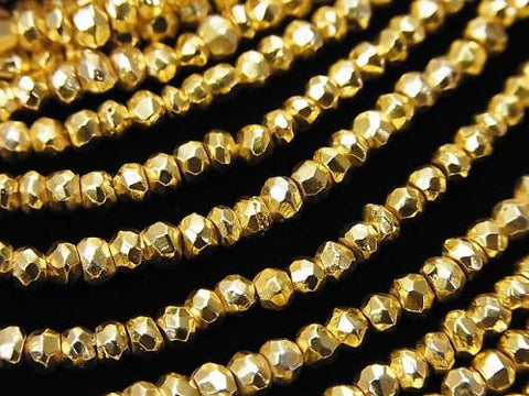 1strand $12.99! Pyrite AAA - Gold Coating Faceted Button Roundel 1strand (aprx.13inch / 32cm)