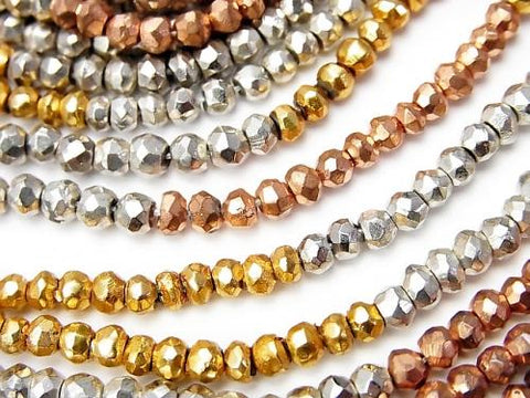 1strand $11.79! Pyrite AAA Metallic Multicolor Coating Faceted Button Roundel 1strand (aprx.13inch / 32cm)