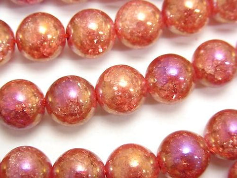 1strand $9.79! Flash Red Color Cracked Crystal Round 10mm 1strand (aprx.15inch / 36cm)
