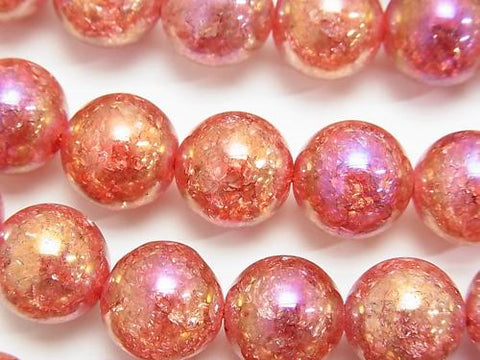 Flash Red Color Cracked Crystal Round 12mm half or 1strand (aprx.14inch / 35cm)