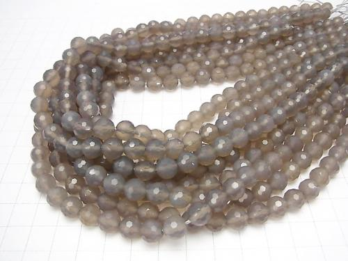 Diamond Cut! Gray Onyx AAA 128 Faceted Round 8 mm half or 1 strand (aprx.15 inch / 38 cm)